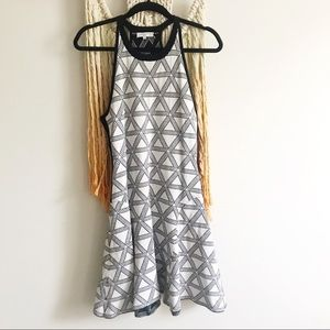 1 STATE black and white geometric dress
